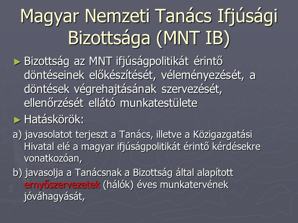 Magyar Nemzeti Tanács Ifjúsági Bizottsága (MNT IB) ► Bizottság az MNT ifjúságpolitikát érintő döntéseinek előkészítését, véleményezését, a döntések végrehajtásának szervezését, ellenőrzését ellátó munkatestülete ► Hatáskörök: a) javasolatot terjeszt a Tanács, illetve a Közigazgatási Hivatal elé a magyar ifjúságpolitikát érintő kérdésekre vonatkozóan, b) javasolja a Tanácsnak a Bizottság által alapított ernyőszervezetek (hálók) éves munkatervének jóváhagyását,