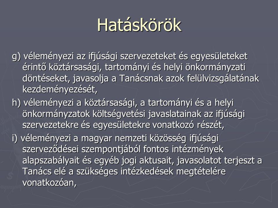 Hatáskörök g) véleményezi az ifjúsági szervezeteket és egyesületeket érintő köztársasági, tartományi és helyi önkormányzati döntéseket, javasolja a Tanácsnak azok felülvizsgálatának kezdeményezését, h) véleményezi a köztársasági, a tartományi és a helyi önkormányzatok költségvetési javaslatainak az ifjúsági szervezetekre és egyesületekre vonatkozó részét, i) véleményezi a magyar nemzeti közösség ifjúsági szerveződései szempontjából fontos intézmények alapszabályait és egyéb jogi aktusait, javasolatot terjeszt a Tanács elé a szükséges intézkedések megtételére vonatkozóan,