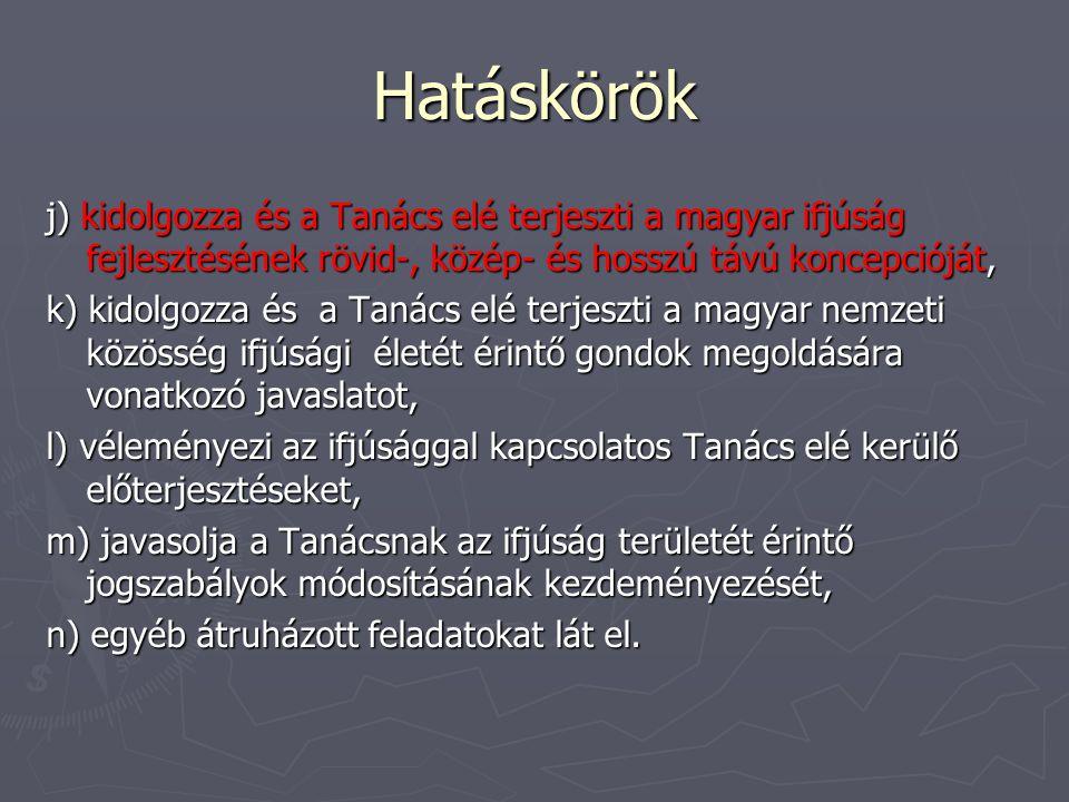 Hatáskörök j) kidolgozza és a Tanács elé terjeszti a magyar ifjúság fejlesztésének rövid-, közép- és hosszú távú koncepcióját, k) kidolgozza és a Tanács elé terjeszti a magyar nemzeti közösség ifjúsági életét érintő gondok megoldására vonatkozó javaslatot, l) véleményezi az ifjúsággal kapcsolatos Tanács elé kerülő előterjesztéseket, m) javasolja a Tanácsnak az ifjúság területét érintő jogszabályok módosításának kezdeményezését, n) egyéb átruházott feladatokat lát el.