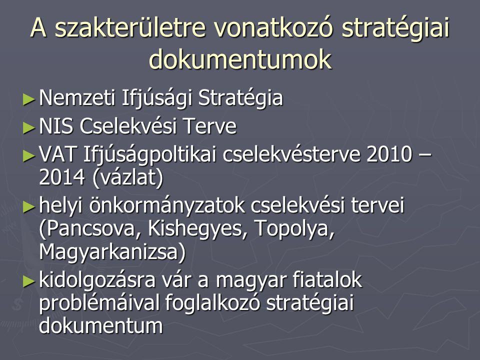 A szakterületre vonatkozó stratégiai dokumentumok ► Nemzeti Ifjúsági Stratégia ► NIS Cselekvési Terve ► VAT Ifjúságpoltikai cselekvésterve 2010 – 2014 (vázlat) ► helyi önkormányzatok cselekvési tervei (Pancsova, Kishegyes, Topolya, Magyarkanizsa) ► kidolgozásra vár a magyar fiatalok problémáival foglalkozó stratégiai dokumentum