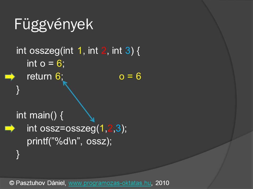 Függvények int osszeg(int 1, int 2, int 3) { int o = 6; return 6; o = 6 } int main() { int ossz=osszeg(1,2,3); printf( %d\n , ossz); } © Pasztuhov Dániel, www.programozas-oktatas.hu, 2010www.programozas-oktatas.hu