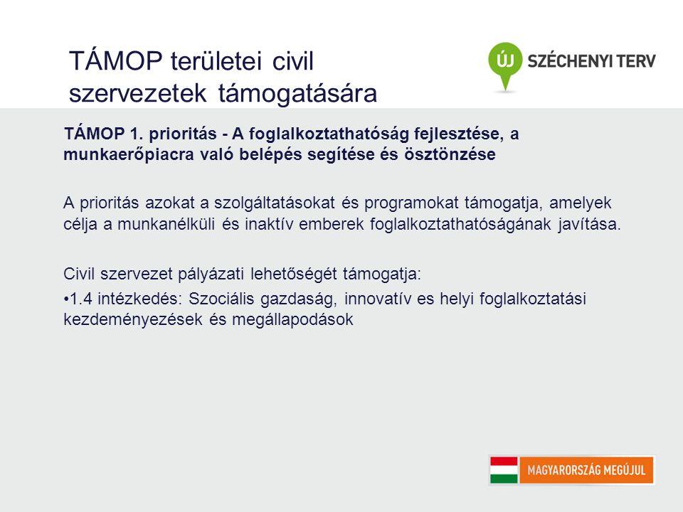 TÁMOP területei civil szervezetek támogatására TÁMOP 1.