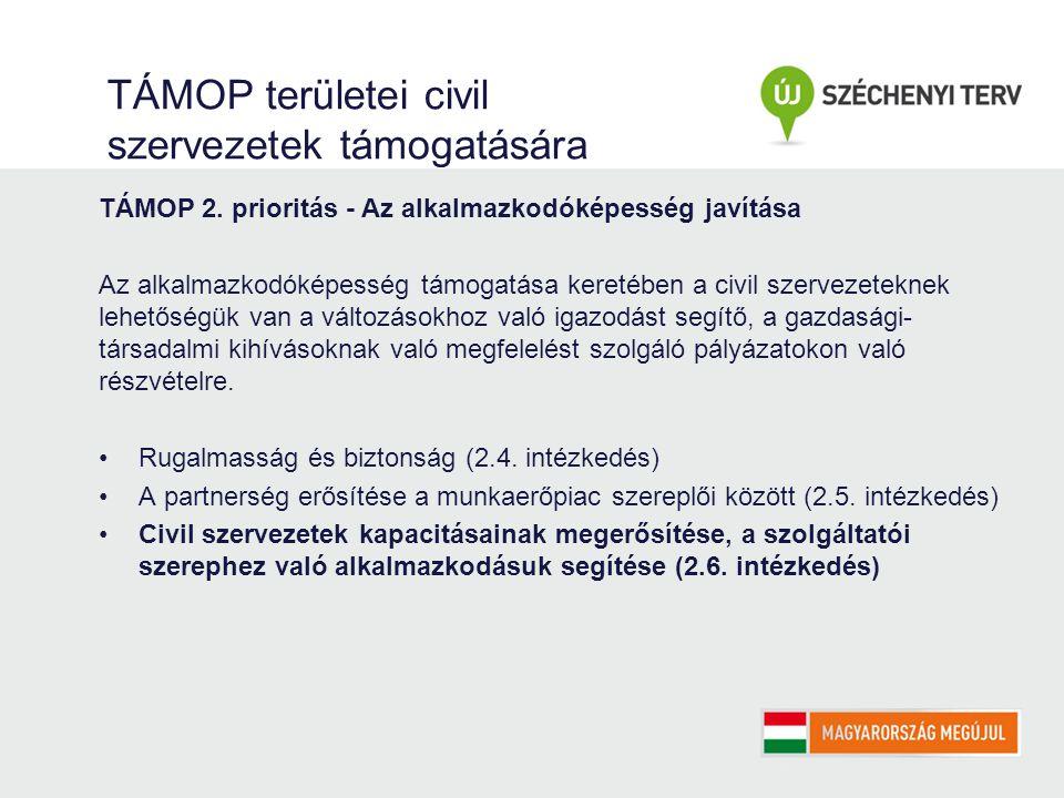 TÁMOP területei civil szervezetek támogatására TÁMOP 2.