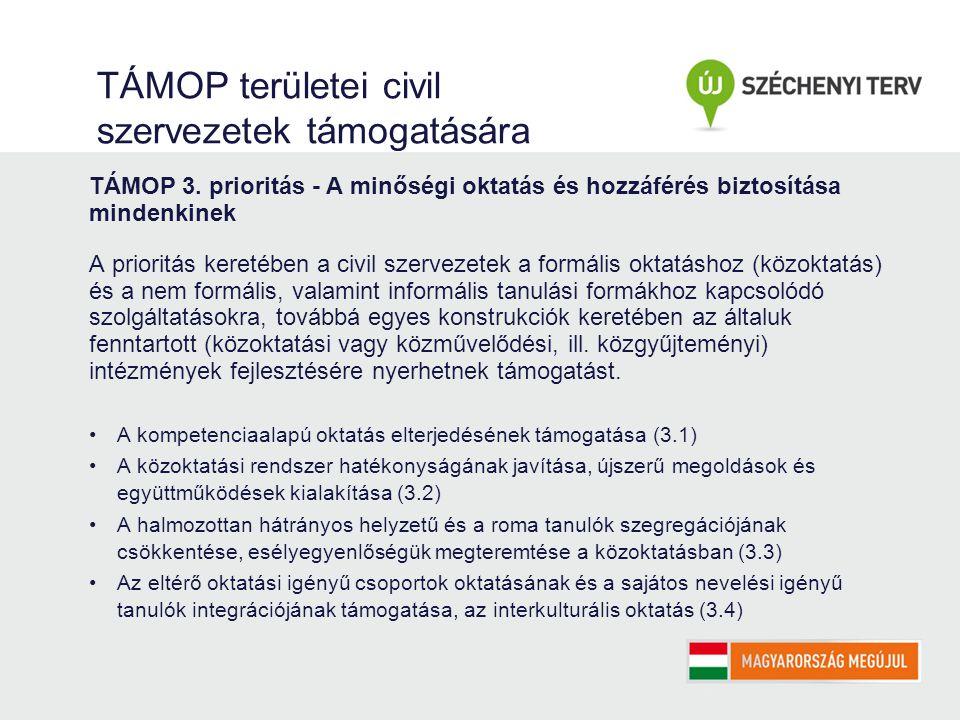 TÁMOP területei civil szervezetek támogatására TÁMOP 3.