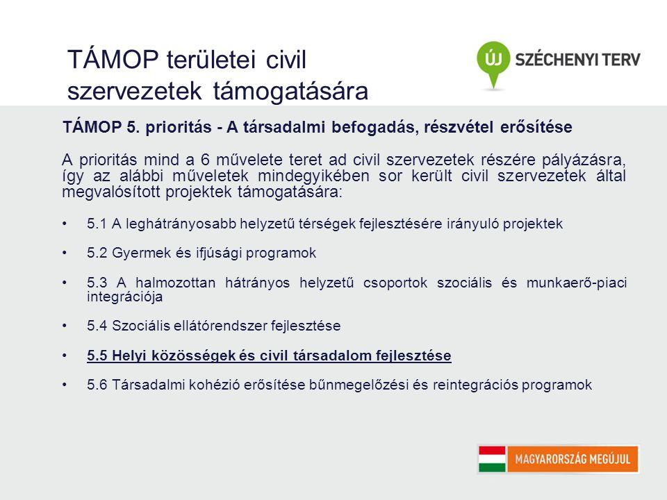 TÁMOP területei civil szervezetek támogatására TÁMOP 5.
