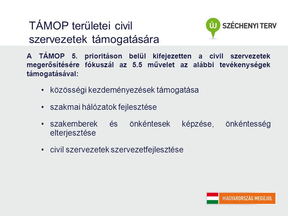TÁMOP területei civil szervezetek támogatására A TÁMOP 5.