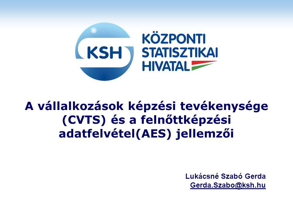 A vállalkozások képzési tevékenysége (CVTS) és a felnőttképzési adatfelvétel(AES) jellemzői Lukácsné Szabó Gerda Gerda.Szabo@ksh.hu
