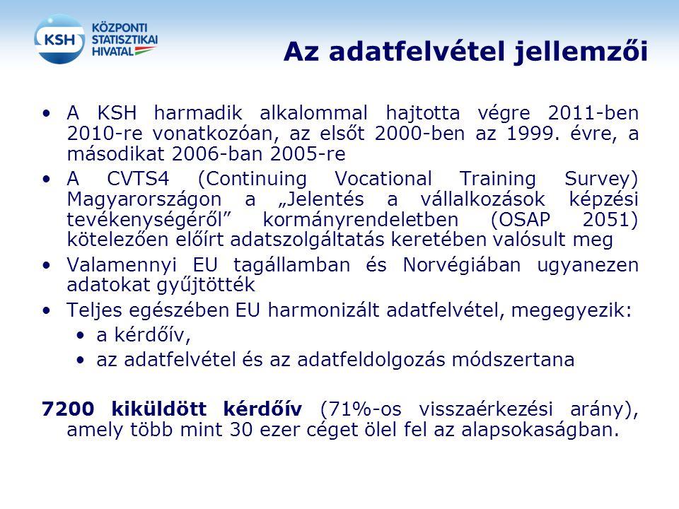 Az adatfelvétel jellemzői A KSH harmadik alkalommal hajtotta végre 2011-ben 2010-re vonatkozóan, az elsőt 2000-ben az 1999. évre, a másodikat 2006-ban