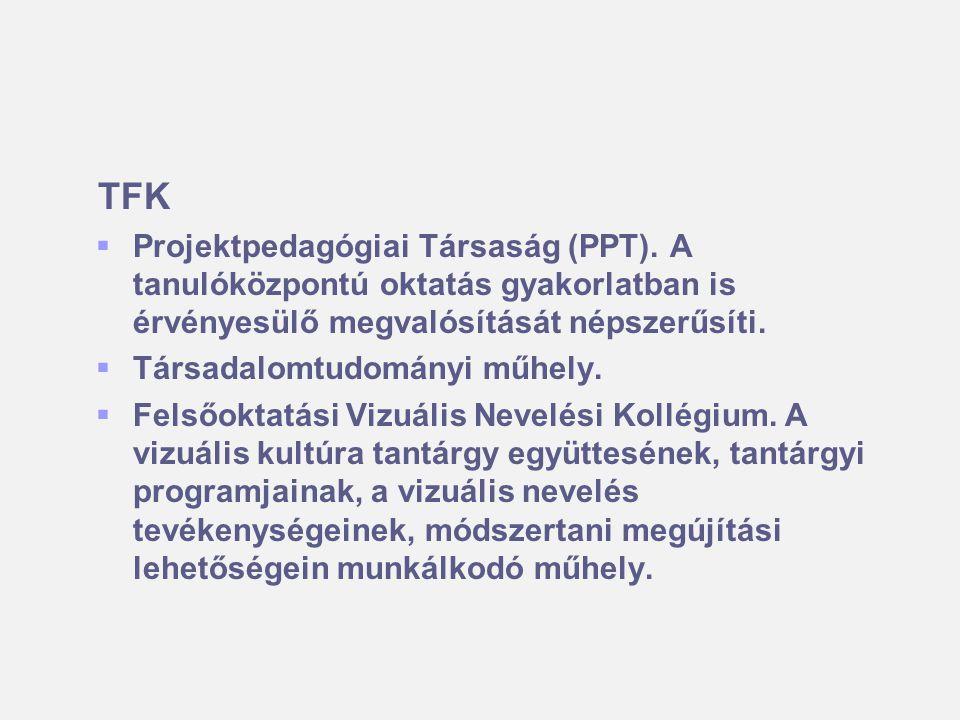 TFK   Projektpedagógiai Társaság (PPT). A tanulóközpontú oktatás gyakorlatban is érvényesülő megvalósítását népszerűsíti.   Társadalomtudományi mű