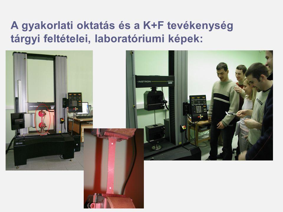 A gyakorlati oktatás és a K+F tevékenység tárgyi feltételei, laboratóriumi képek: