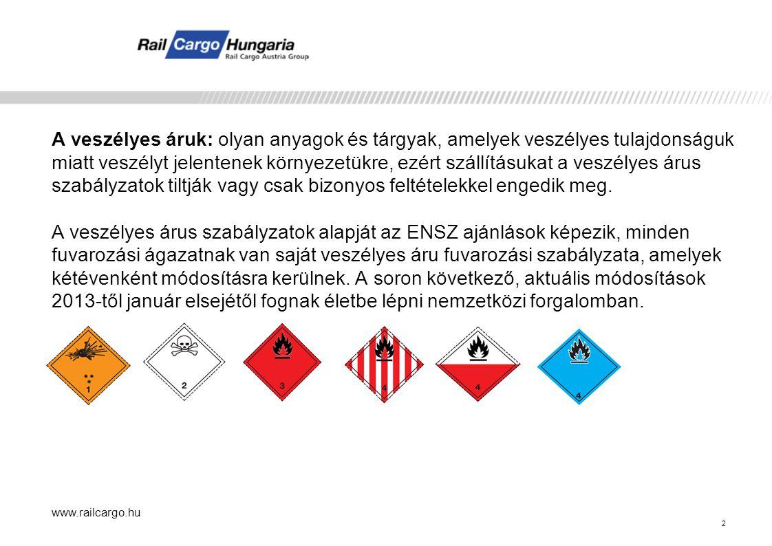 www.railcargo.hu 3 Vasúti szabályozás:  COTIF-forgalomban: A RID, A veszélyes áruk nemzetközi vasúti fuvarozásáról szóló szabályzat, amely a COTIF C Függeléke  SZMGSZ-forgalomban: Az SZMGSZ Megállapodás 2.