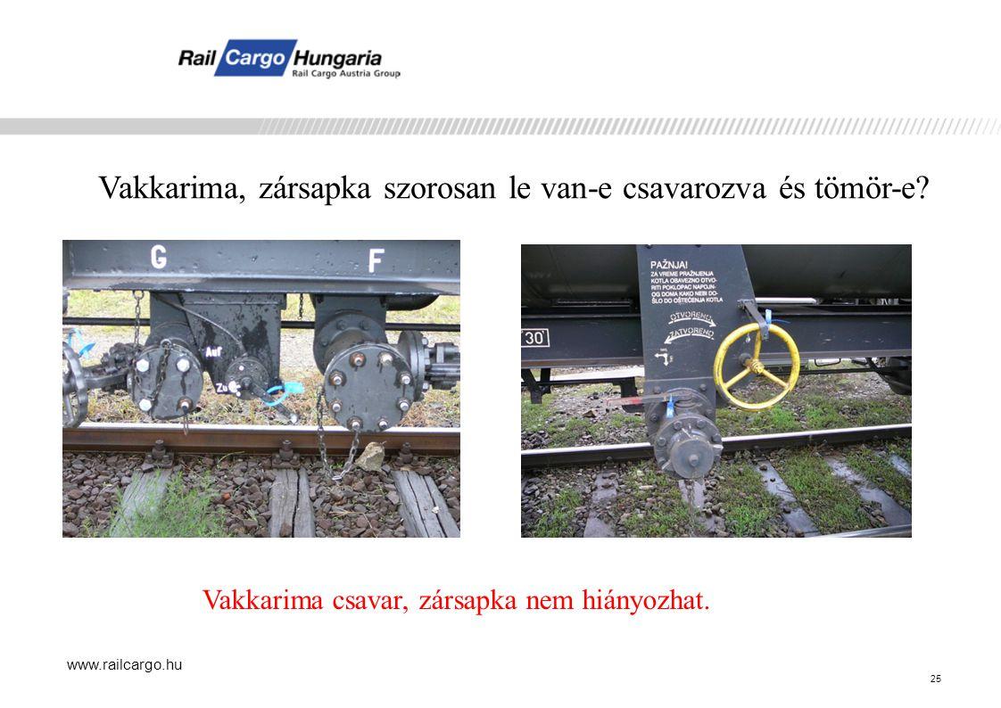 www.railcargo.hu Vakkarima, zársapka szorosan le van-e csavarozva és tömör-e.
