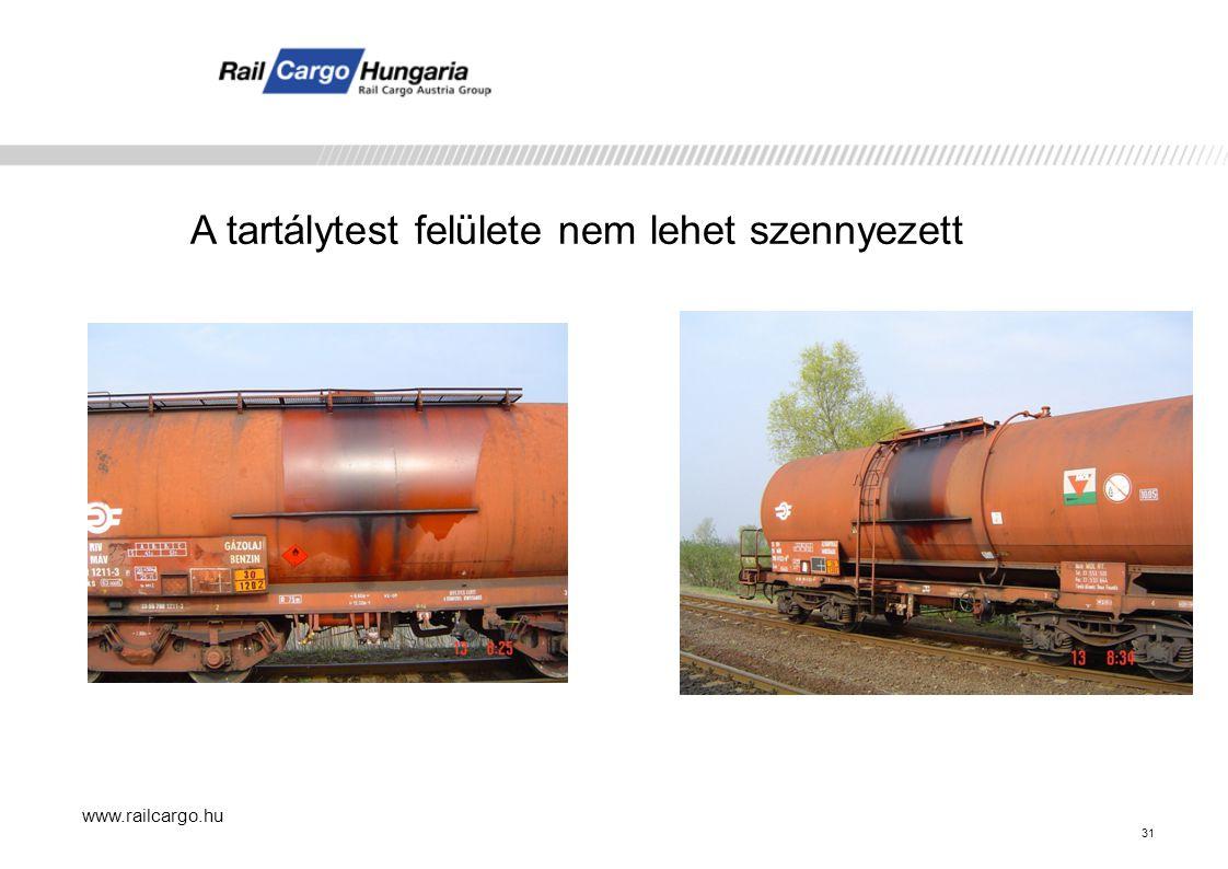 www.railcargo.hu A tartálytest felülete nem lehet szennyezett 31