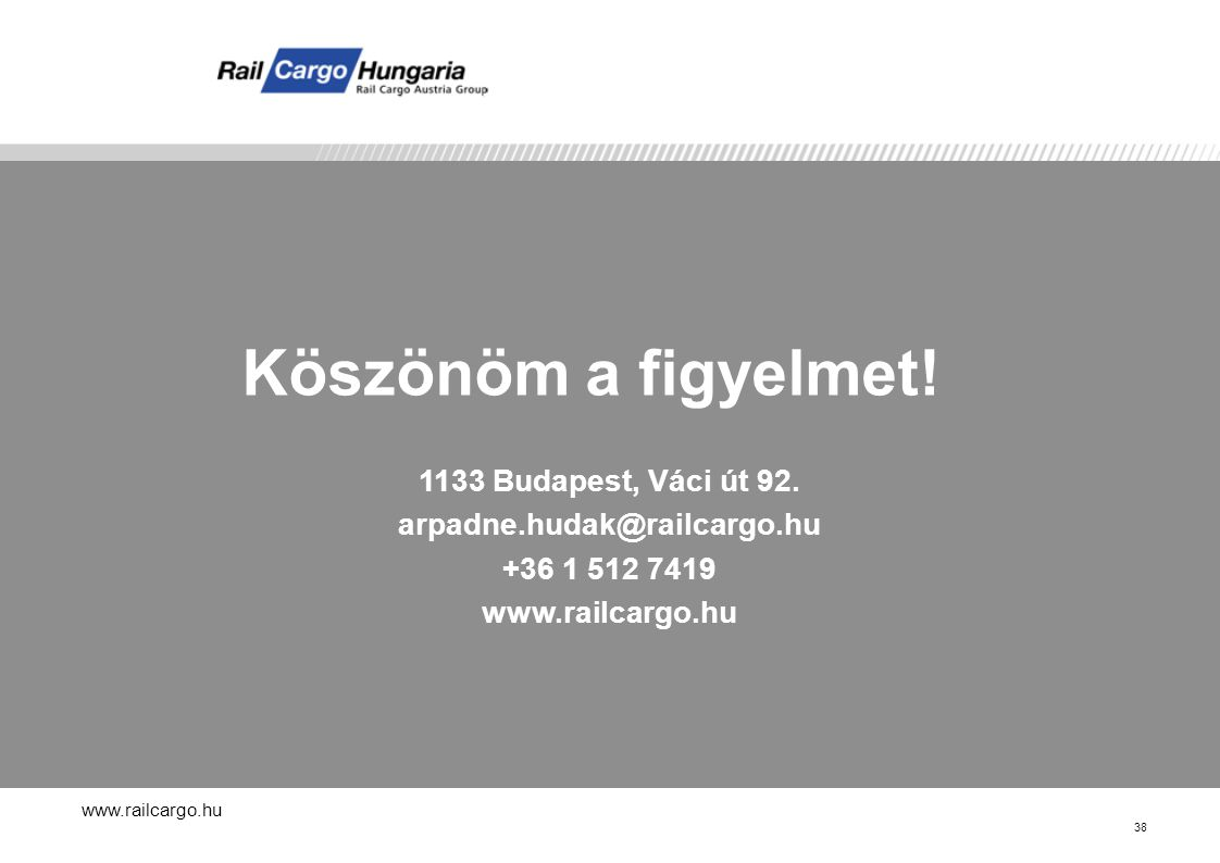 www.railcargo.hu 38 Köszönöm a figyelmet.1133 Budapest, Váci út 92.