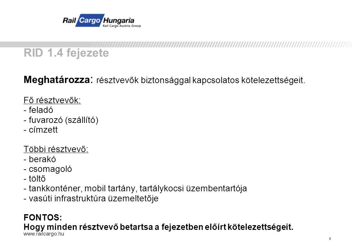 www.railcargo.hu 6 RID 1.4 fejezete Meghatározza : résztvevők biztonsággal kapcsolatos kötelezettségeit.