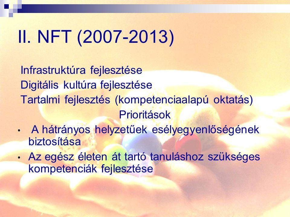 II. NFT (2007-2013) Infrastruktúra fejlesztése Digitális kultúra fejlesztése Tartalmi fejlesztés (kompetenciaalapú oktatás) Prioritások A hátrányos he