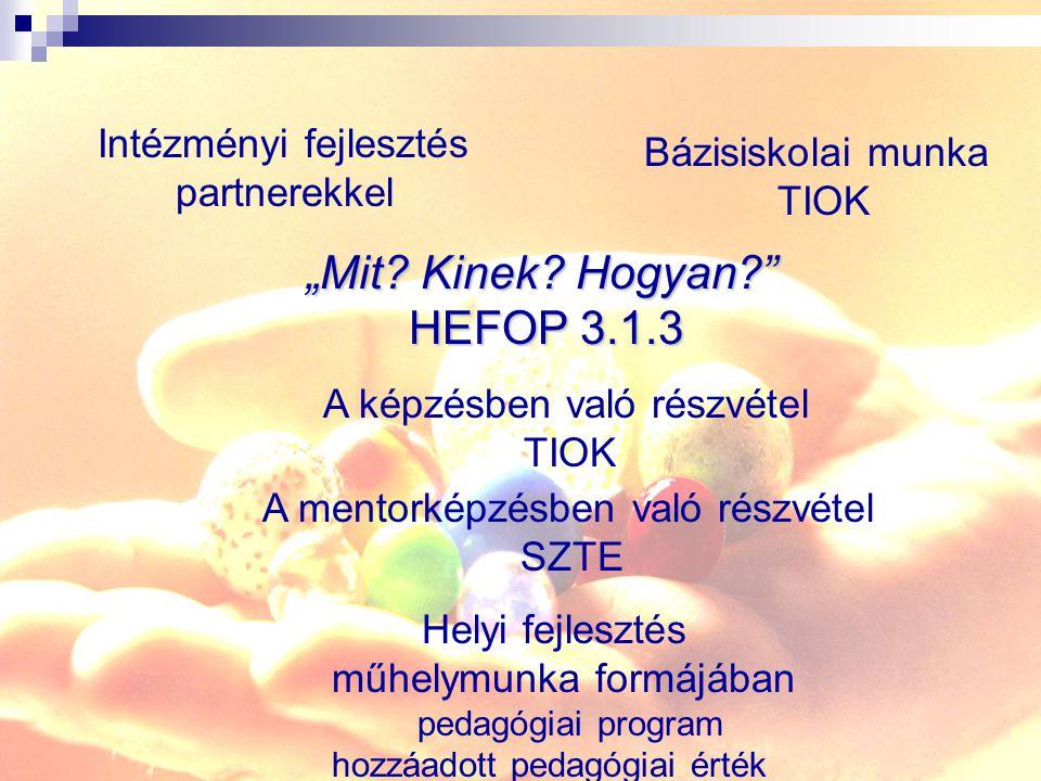 """""""Mit? Kinek? Hogyan?"""" HEFOP 3.1.3 Intézményi fejlesztés partnerekkel Bázisiskolai munka TIOK A képzésben való részvétel TIOK A mentorképzésben való ré"""