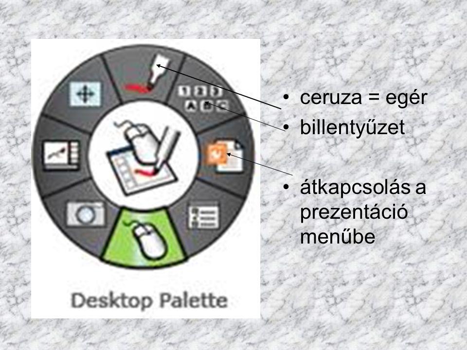 ceruza = egér billentyűzet átkapcsolás a prezentáció menűbe