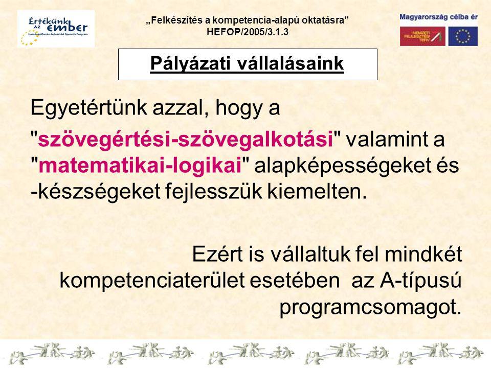 """""""Felkészítés a kompetencia-alapú oktatásra HEFOP/2005/3.1.3 Az 1."""