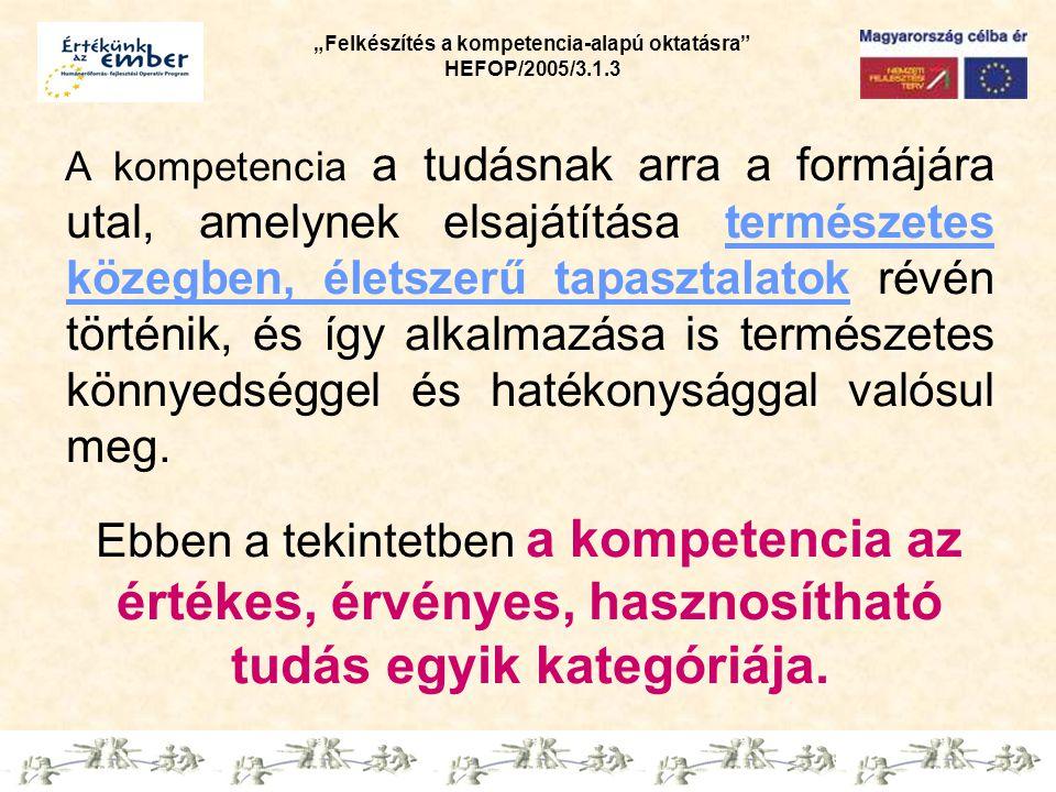 """""""Felkészítés a kompetencia-alapú oktatásra HEFOP/2005/3.1.3 Kompetencia alapú nevelési, oktatási módszertan A célok elérése érdekében szükséges a pedagógiai kultúra átalakulása."""