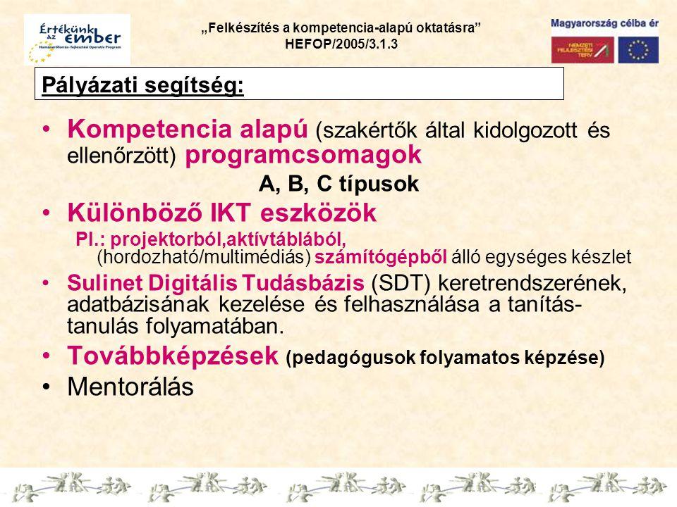 """""""Felkészítés a kompetencia-alapú oktatásra HEFOP/2005/3.1.3 Pályázati segítség: Kompetencia alapú (szakértők által kidolgozott és ellenőrzött) programcsomagok A, B, C típusok Különböző IKT eszközök Pl.: projektorból,aktívtáblából, (hordozható/multimédiás) számítógépből álló egységes készlet Sulinet Digitális Tudásbázis (SDT) keretrendszerének, adatbázisának kezelése és felhasználása a tanítás- tanulás folyamatában."""