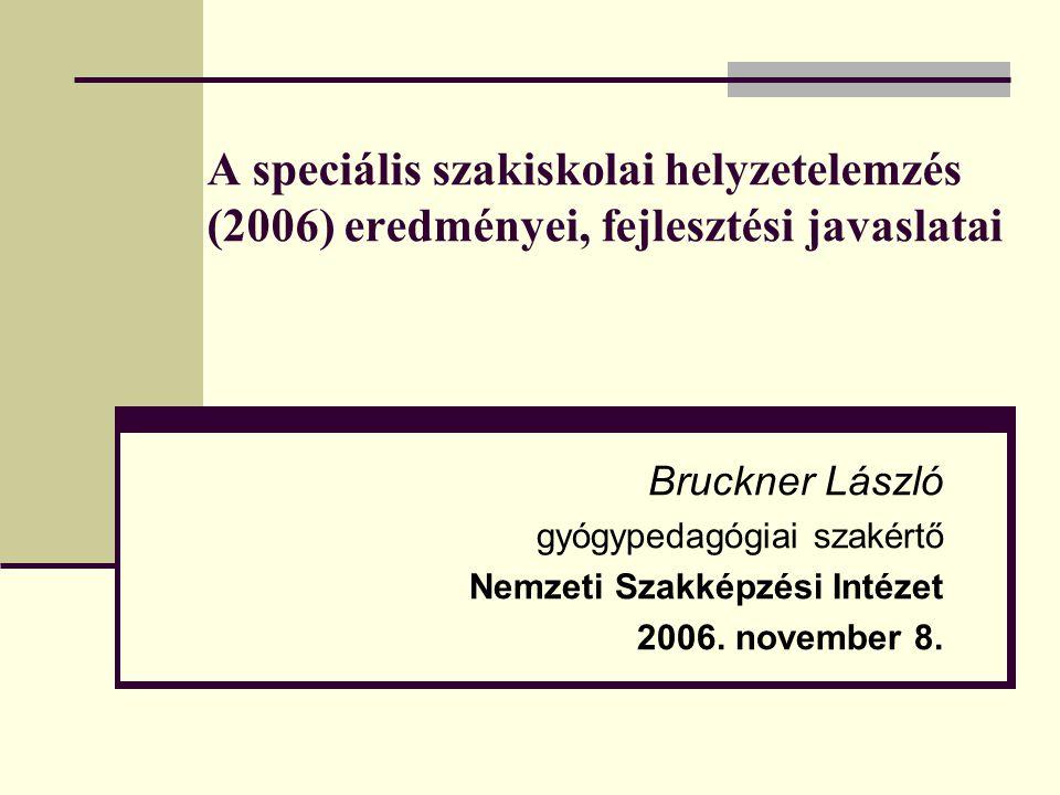 A speciális szakiskolai helyzetelemzés (2006) eredményei, fejlesztési javaslatai Bruckner László gyógypedagógiai szakértő Nemzeti Szakképzési Intézet