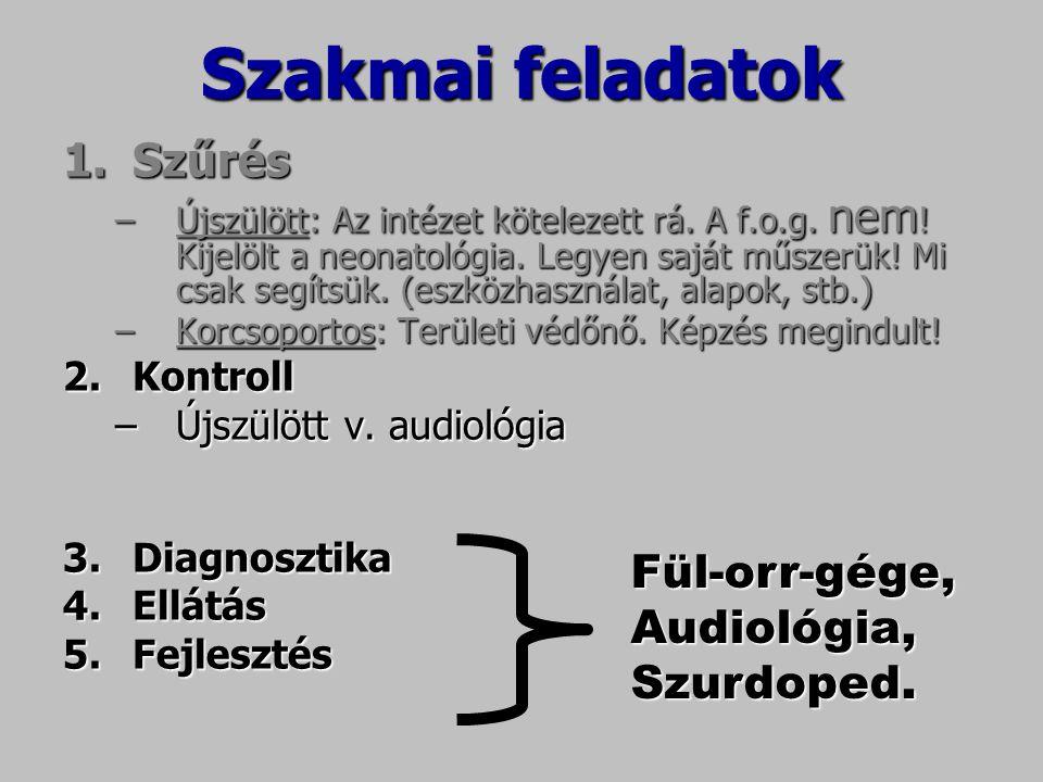 Szakmaifeladatok Szakmai feladatok 1.Szűrés –Újszülött: Az intézet kötelezett rá. A f.o.g. nem ! Kijelölt a neonatológia. Legyen saját műszerük! Mi cs