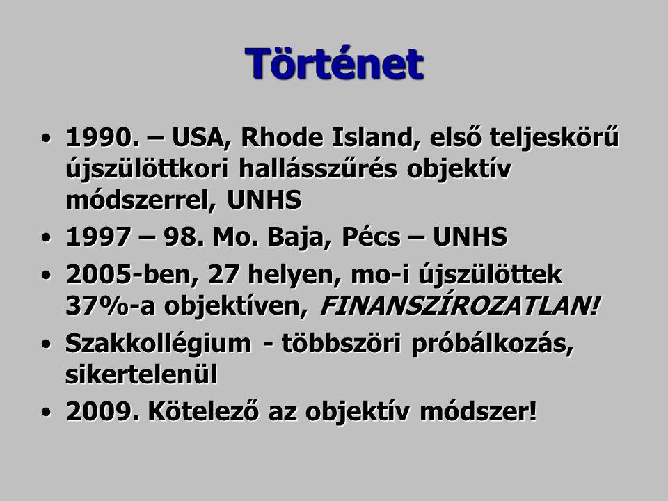 Történet 1990. – USA, Rhode Island, első teljeskörű újszülöttkori hallásszűrés objektív módszerrel, UNHS1990. – USA, Rhode Island, első teljeskörű újs