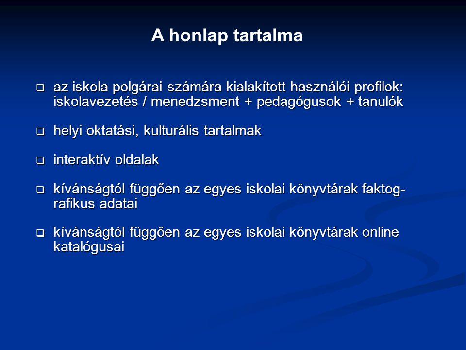  az iskola polgárai számára kialakított használói profilok: iskolavezetés / menedzsment + pedagógusok + tanulók  helyi oktatási, kulturális tartalma