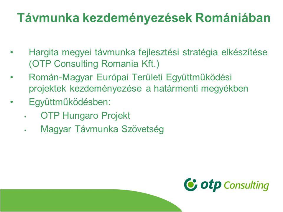 Távmunka kezdeményezések Romániában Hargita megyei távmunka fejlesztési stratégia elkészítése (OTP Consulting Romania Kft.) Román-Magyar Európai Területi Együttműködési projektek kezdeményezése a határmenti megyékben Együttműködésben: OTP Hungaro Projekt Magyar Távmunka Szövetség