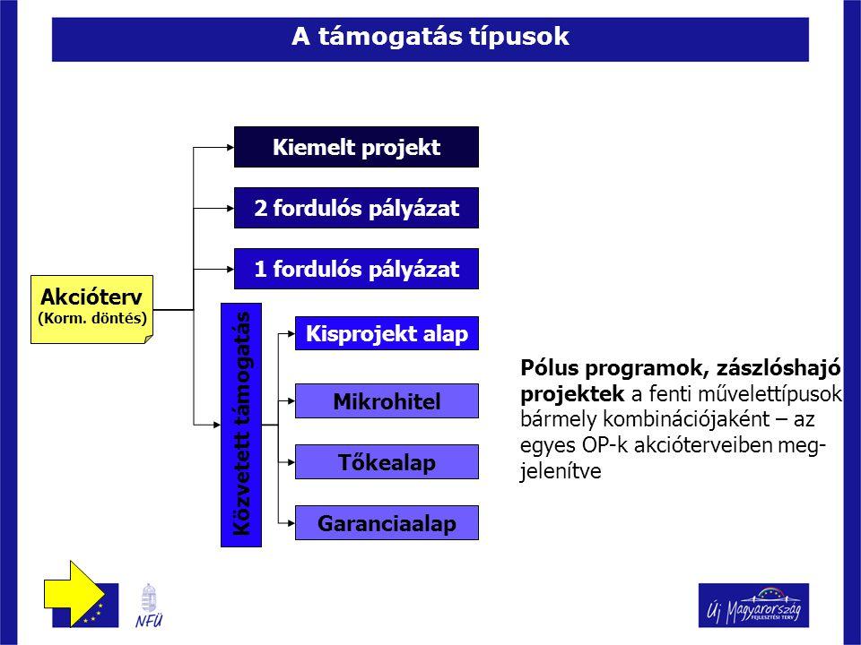 A támogatás típusok Akcióterv (Korm.