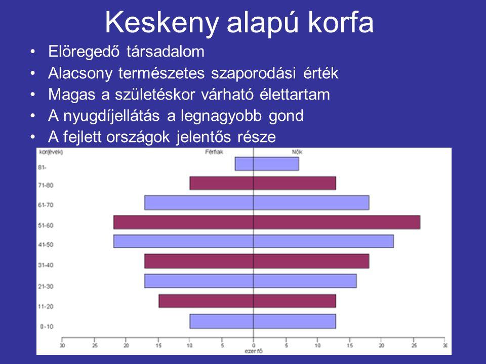 Keskeny alapú korfa Elöregedő társadalom Alacsony természetes szaporodási érték Magas a születéskor várható élettartam A nyugdíjellátás a legnagyobb gond A fejlett országok jelentős része