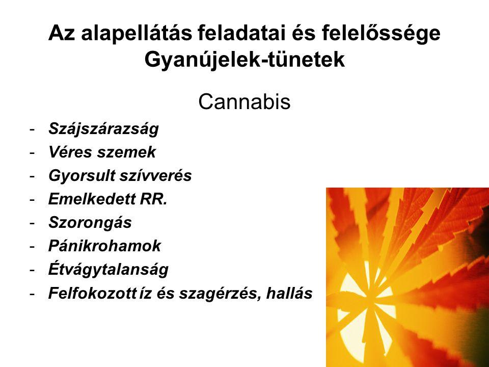 Az alapellátás feladatai és felelőssége Gyanújelek-tünetek Cannabis -Szájszárazság -Véres szemek -Gyorsult szívverés -Emelkedett RR.