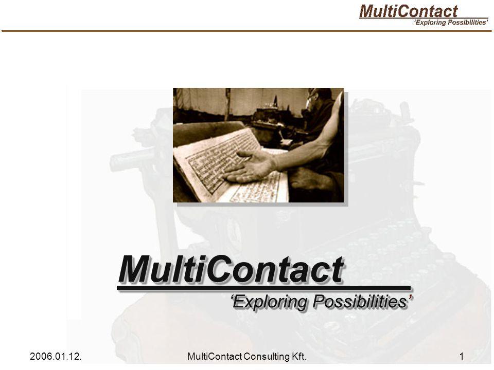 2006.01.12.MultiContact Consulting Kft.2 Főtevékenység: Üzletviteli tanácsadás Kiemelt tevékenységek: Pályázati tanácsadás Pályázati tanácsadás Megvalósíthatósági tanulmány készítés Megvalósíthatósági tanulmány készítés Projektmenedzsment Projektmenedzsment Közbeszerzési tanácsadás Közbeszerzési tanácsadás Közszolgálati tanácsadás Közszolgálati tanácsadás Oktatás, képzés Oktatás, képzés