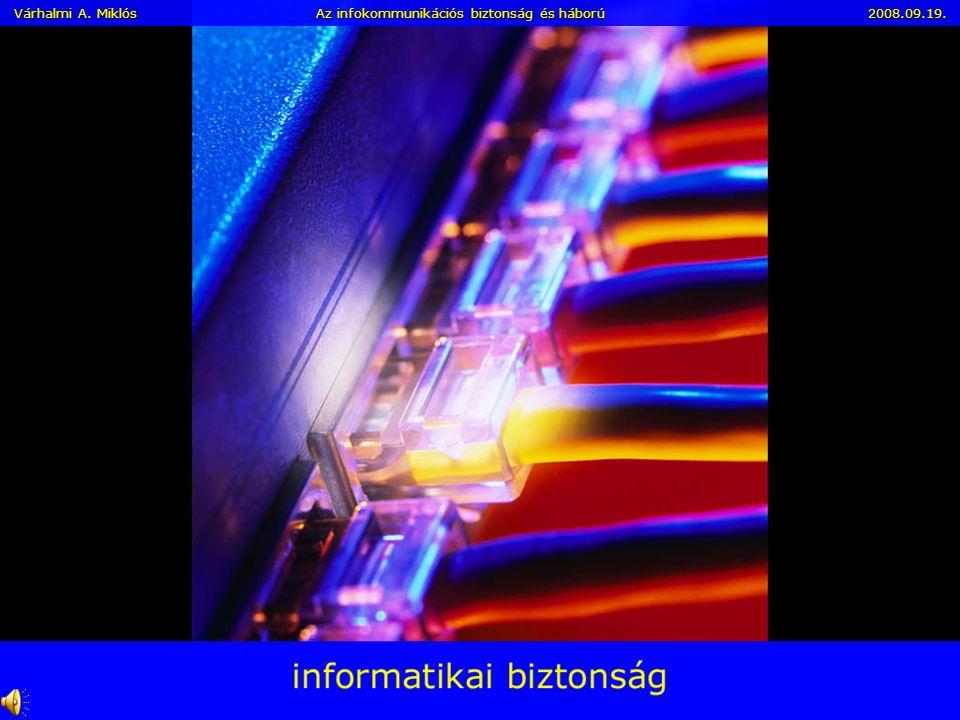 Várhalmi A. Miklós Az infokommunikációs biztonság és háború 2008.09.19. Az infokommunikációs közművek biztonsági kockázatai és az információs hadvisel