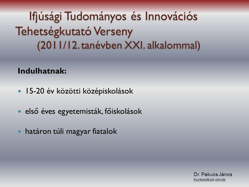Ifjúsági Tudományos és Innovációs Tehetségkutató Verseny (2011/12. tanévben XXI. alkalommal) Ifjúsági Tudományos és Innovációs Tehetségkutató Verseny