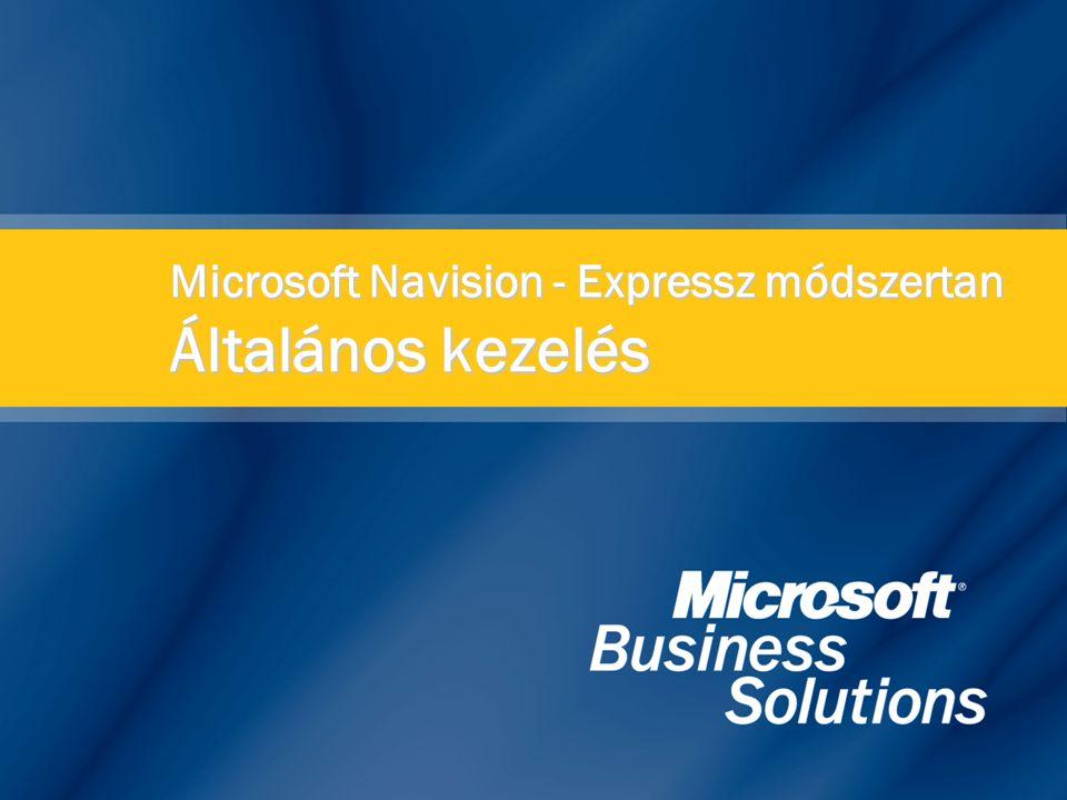 Microsoft Navision - Expressz módszertan Általános kezelés