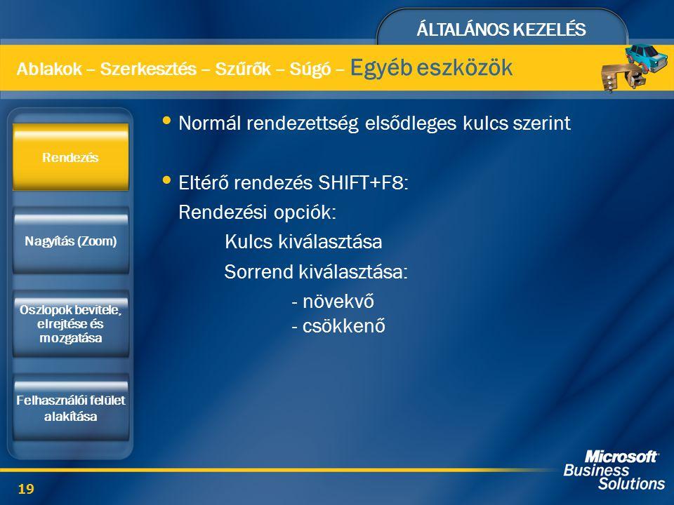 ÁLTALÁNOS KEZELÉS 19 Normál rendezettség elsődleges kulcs szerint Eltérő rendezés SHIFT+F8: Rendezési opciók: Kulcs kiválasztása Sorrend kiválasztása: