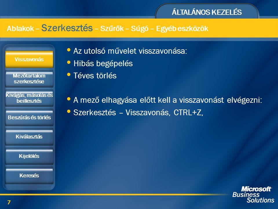 ÁLTALÁNOS KEZELÉS 18 Többszintű segítség funkció Mezőszintű súgó: Lépjünk a mezőre: F1 Mi ez?: SHIFT+F1, Ablakszintű súgó: Parancsgombbal Rendszerszintű segítség: Súgó – Navision súgó Súgó – Funkcióbillentyűk, ALT+F1 Ablakok – Szerkesztés – Szűrők – Súgó – Egyéb eszközök