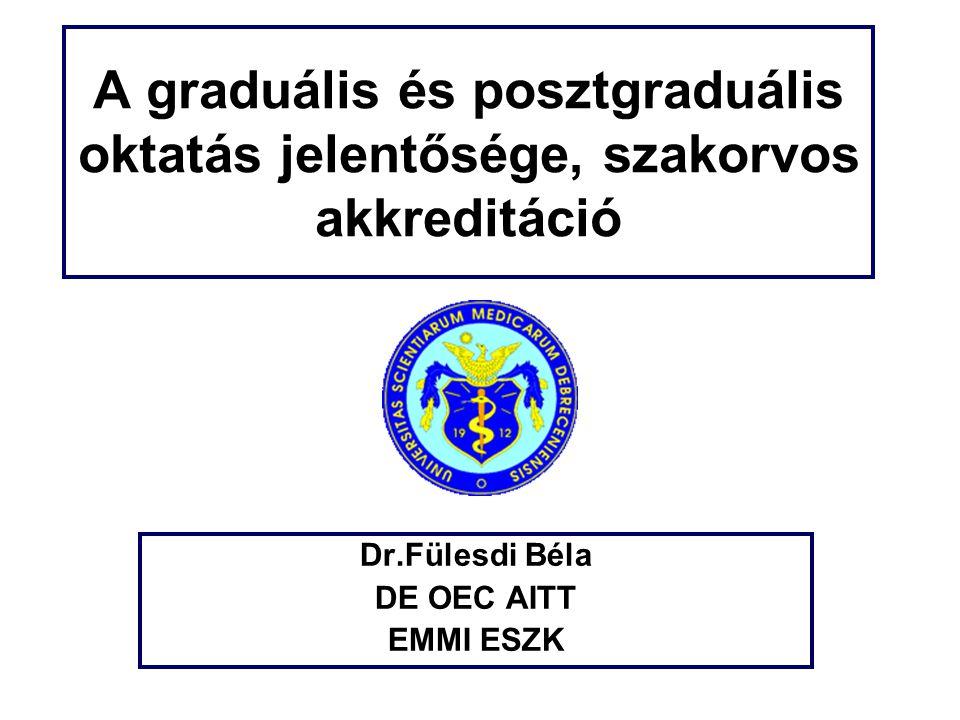 A graduális és posztgraduális oktatás jelentősége, szakorvos akkreditáció Dr.Fülesdi Béla DE OEC AITT EMMI ESZK