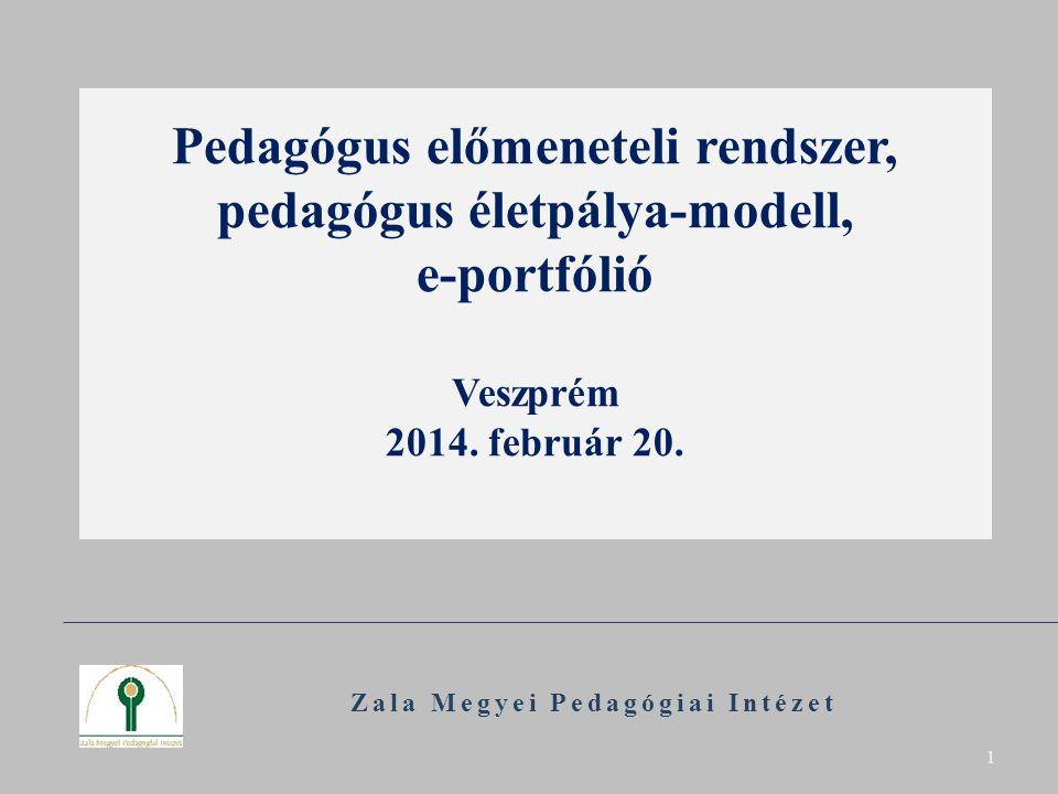 Pedagógus előmeneteli rendszer, pedagógus életpálya-modell, e-portfólió Veszprém 2014. február 20. Zala Megyei Pedagógiai Intézet 1