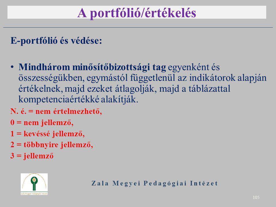 A portfólió/értékelés E-portfólió és védése: Mindhárom minősítőbizottsági tag egyenként és összességükben, egymástól függetlenül az indikátorok alapjá