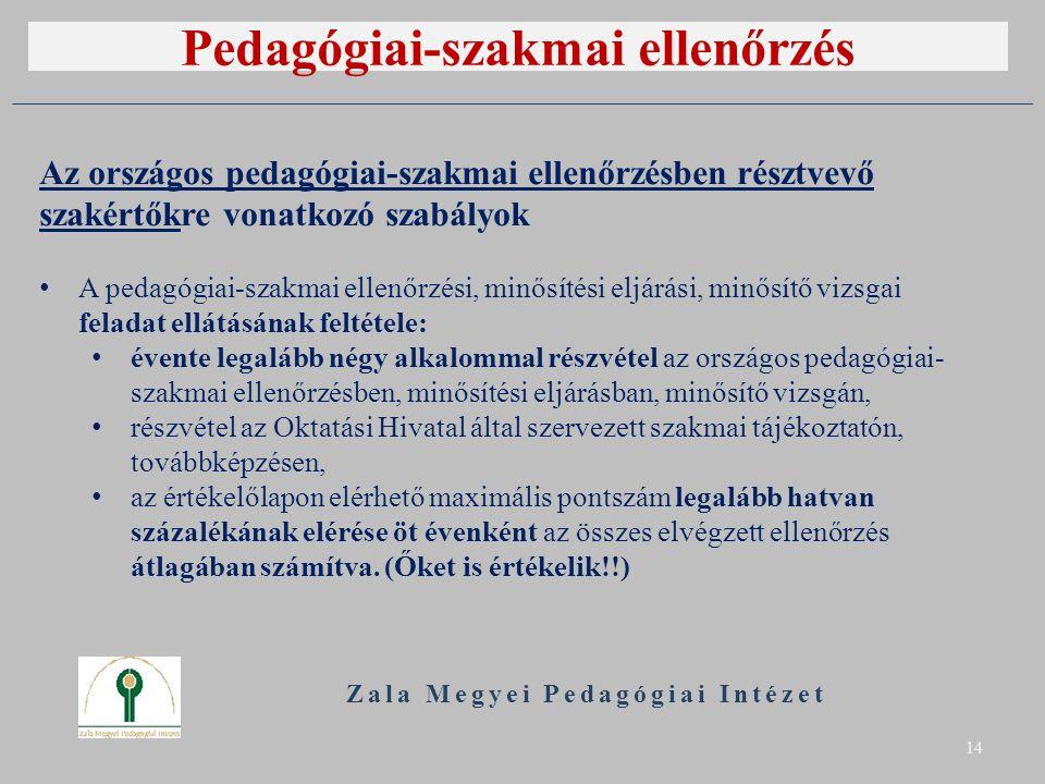 Pedagógiai-szakmai ellenőrzés Zala Megyei Pedagógiai Intézet 14 Az országos pedagógiai-szakmai ellenőrzésben résztvevő szakértőkre vonatkozó szabályok A pedagógiai-szakmai ellenőrzési, minősítési eljárási, minősítő vizsgai feladat ellátásának feltétele: évente legalább négy alkalommal részvétel az országos pedagógiai- szakmai ellenőrzésben, minősítési eljárásban, minősítő vizsgán, részvétel az Oktatási Hivatal által szervezett szakmai tájékoztatón, továbbképzésen, az értékelőlapon elérhető maximális pontszám legalább hatvan százalékának elérése öt évenként az összes elvégzett ellenőrzés átlagában számítva.