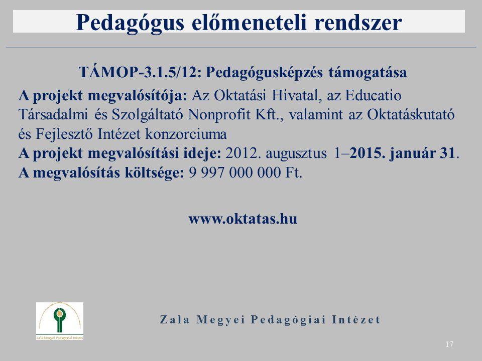 Pedagógus előmeneteli rendszer TÁMOP-3.1.5/12: Pedagógusképzés támogatása A projekt megvalósítója: Az Oktatási Hivatal, az Educatio Társadalmi és Szolgáltató Nonprofit Kft., valamint az Oktatáskutató és Fejlesztő Intézet konzorciuma A projekt megvalósítási ideje: 2012.