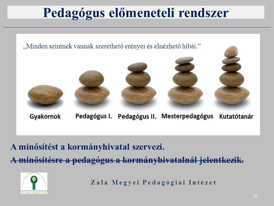 Pedagógus előmeneteli rendszer A minősítést a kormányhivatal szervezi. A minősítésre a pedagógus a kormányhivatalnál jelentkezik. Zala Megyei Pedagógi