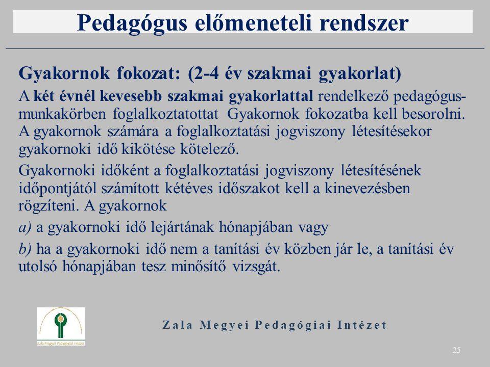 Pedagógus előmeneteli rendszer Gyakornok fokozat: (2-4 év szakmai gyakorlat) A két évnél kevesebb szakmai gyakorlattal rendelkező pedagógus- munkakörben foglalkoztatottat Gyakornok fokozatba kell besorolni.