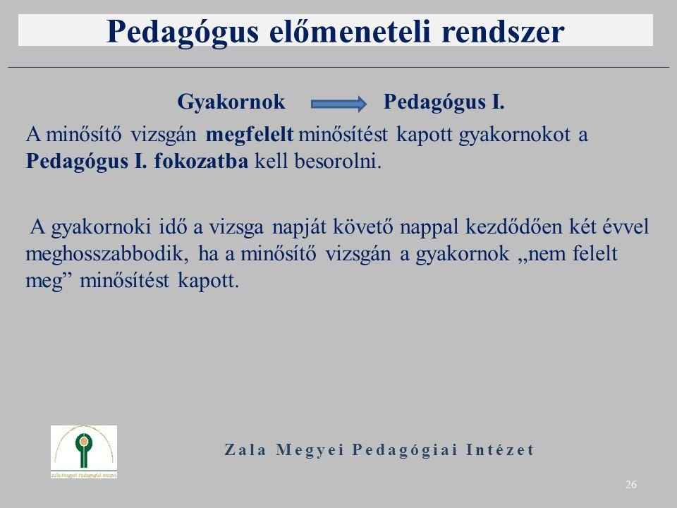 Pedagógus előmeneteli rendszer Gyakornok Pedagógus I. A minősítő vizsgán megfelelt minősítést kapott gyakornokot a Pedagógus I. fokozatba kell besorol