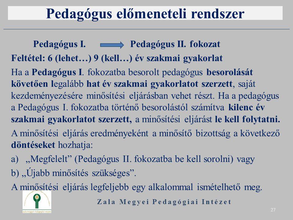 Pedagógus előmeneteli rendszer Pedagógus I. Pedagógus II. fokozat Feltétel: 6 (lehet…) 9 (kell…) év szakmai gyakorlat Ha a Pedagógus I. fokozatba beso