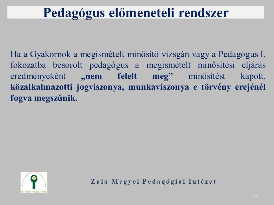 Pedagógus előmeneteli rendszer Ha a Gyakornok a megismételt minősítő vizsgán vagy a Pedagógus I.
