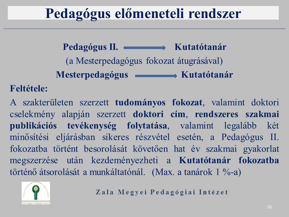 Pedagógus előmeneteli rendszer Pedagógus II. Kutatótanár (a Mesterpedagógus fokozat átugrásával) Mesterpedagógus Kutatótanár Feltétele: A szakterülete
